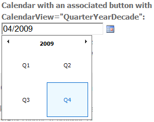 Calendar - Quarter/Year/Decade view