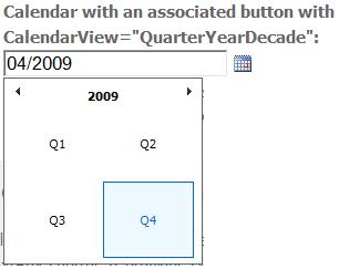 Calendar - Quarter/Year/Decade view