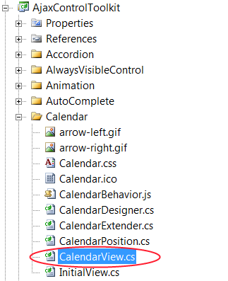 Creation of the CalendarView.cs file