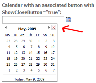 Calendar Close Button Image